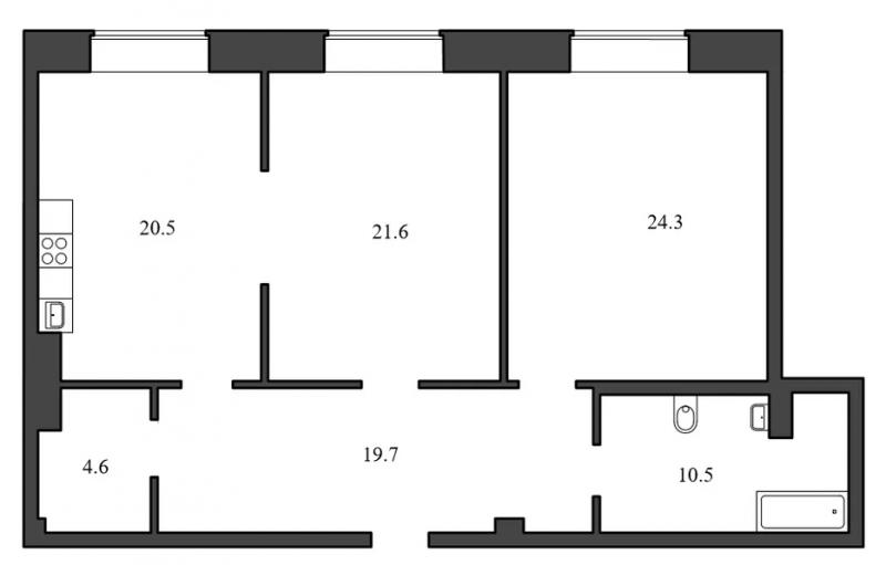 Планировка Двухкомнатная квартира площадью 101.2 кв.м в ЖК «Васильевский квартал»