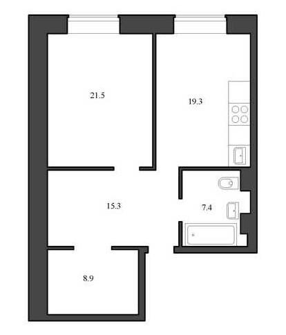 Планировка Однокомнатная квартира площадью 72.4 кв.м в ЖК «Васильевский квартал»