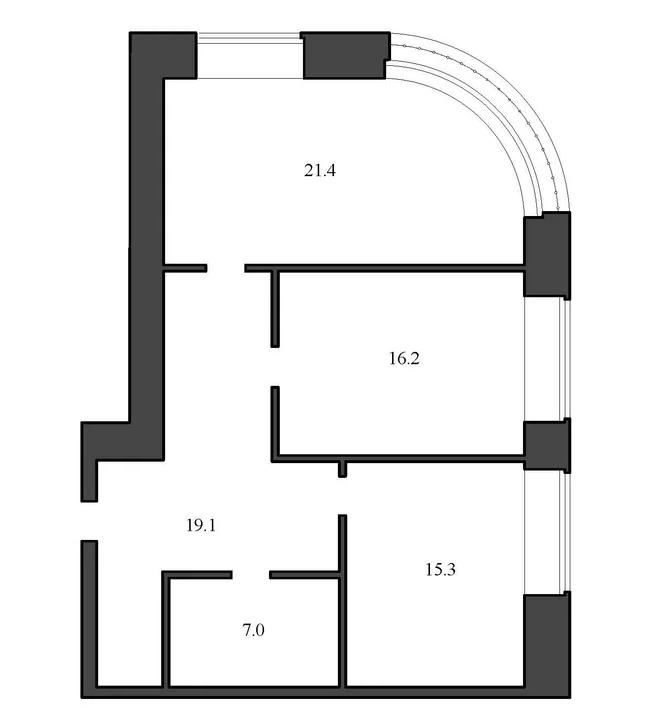 Планировка Двухкомнатная квартира площадью 79 кв.м в ЖК «Васильевский квартал»