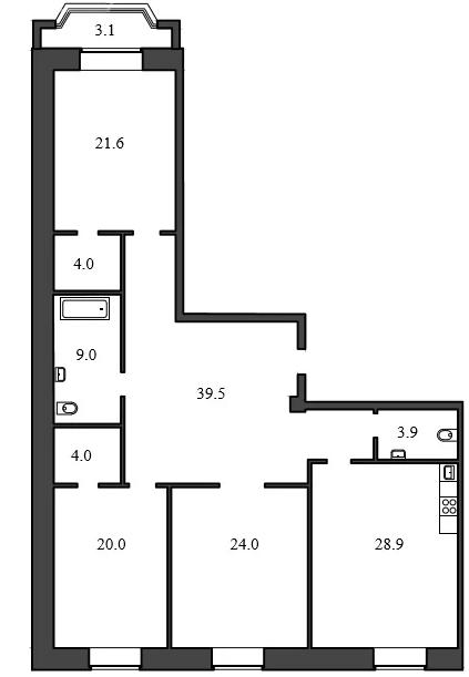 Планировка Трёхкомнатная квартира площадью 154.9 кв.м в ЖК «Васильевский квартал»
