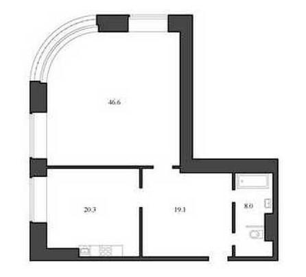 Планировка Однокомнатная квартира площадью 94 кв.м в ЖК «Васильевский квартал»