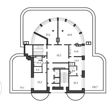 Планировка Четырёхкомнатная квартира площадью 234 кв.м в ЖК «Васильевский квартал»