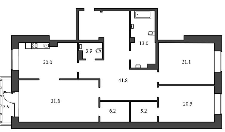 Планировка Трёхкомнатная квартира площадью 163.5 кв.м в ЖК «Васильевский квартал»