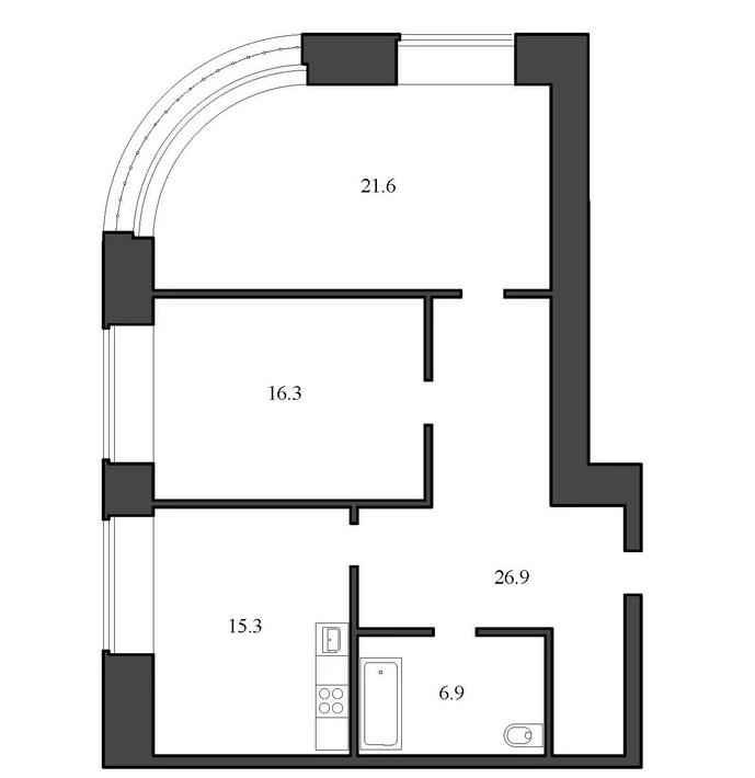 Планировка Двухкомнатная квартира площадью 87 кв.м в ЖК «Васильевский квартал»