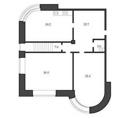 Планировка Двухкомнатная квартира площадью 134.4 кв.м в ЖК «Васильевский квартал»