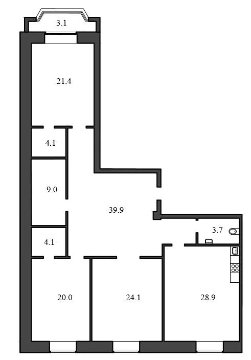 Планировка Трёхкомнатная квартира площадью 155.2 кв.м в ЖК «Васильевский квартал»