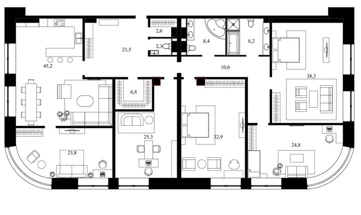 Планировка Пятикомнатная квартира площадью 252.7 кв.м в ЖК «Васильевский квартал»