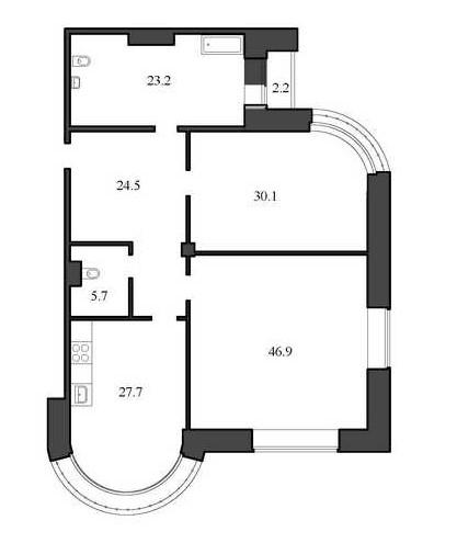 Планировка Двухкомнатная квартира площадью 158.1 кв.м в ЖК «Васильевский квартал»