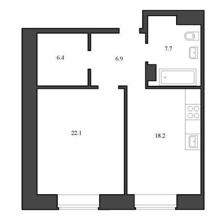 Планировка Однокомнатная квартира площадью 61.3 кв.м в ЖК «Васильевский квартал»